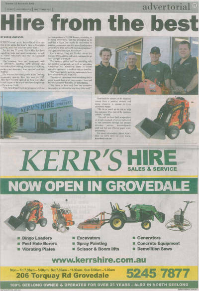Kerr's Hire at Grovesdale Mall